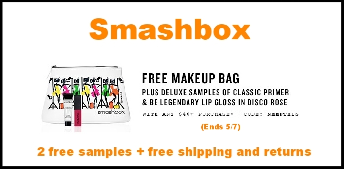 Smashbox  ~ Free Makeup Bag + 2 deluxe samples with $40 purchase with promo code: NEEDTHIS (Ends 5/7) + 2 free samples + Free shipping and returns