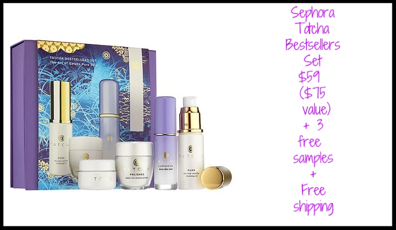 Sephora ~  Tatcha Bestsellers Set  $59 ($75 value) + 3 free samples with every order + Free Fragrance Sample Bag of your choice with promo code: SCENTSTYLE (While supplies last!) + Free shipping with $50 order or join Sephora Flash  Here  for free shipping with any order