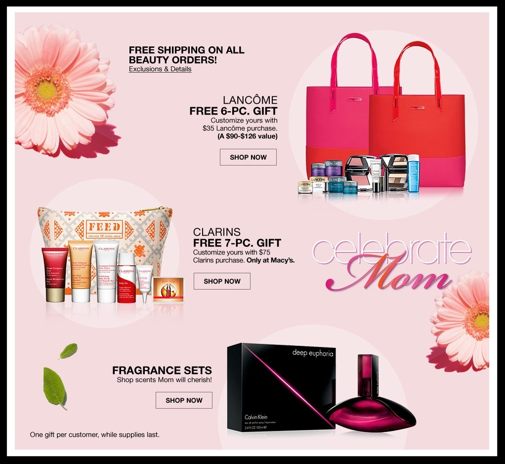 Macy's  ~ Lots of Great GWP Offers + Free shipping and returns with any beauty order