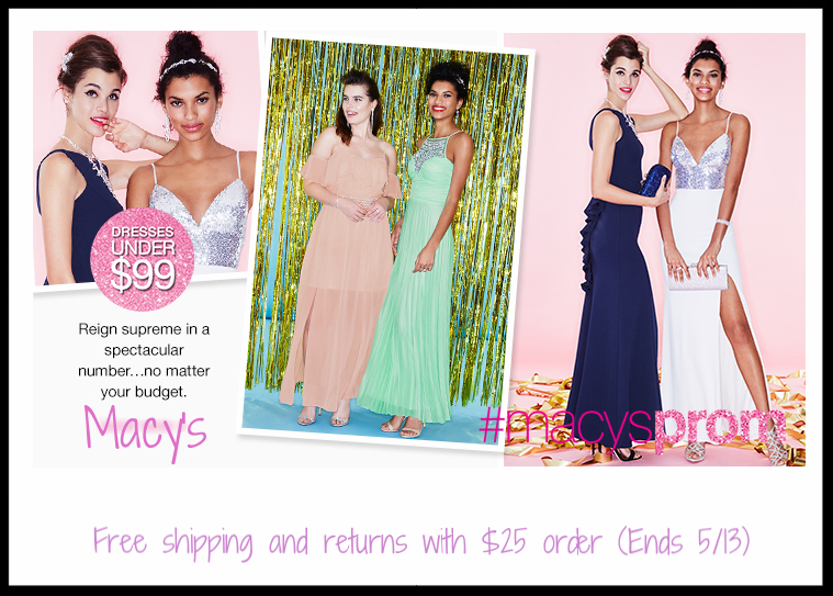 Macy's ~  Prom Dresses  under $99 + Free shipping and returns with $25 order (Ends 5/13)