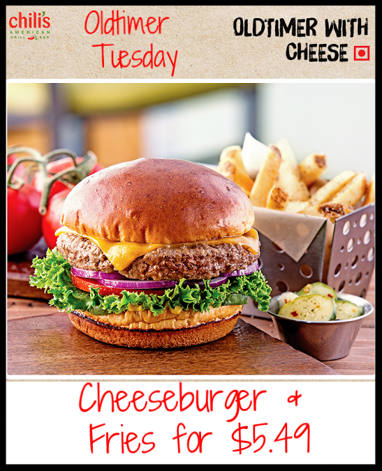 Chili's ~ Old Timer Tuesday ~ Cheeseburger & Fries for $5.49 ~ Check to see if your local  Chili's  participates in this yummy deal!