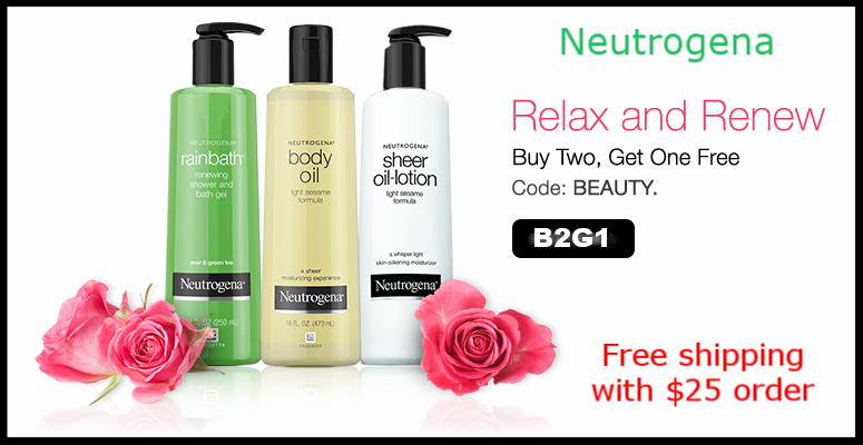 Neutrogena  ~ Buy 2, Get 1 Free with promo code: BEAUTY (Ends 5/18)  + Free shipping with $25 order
