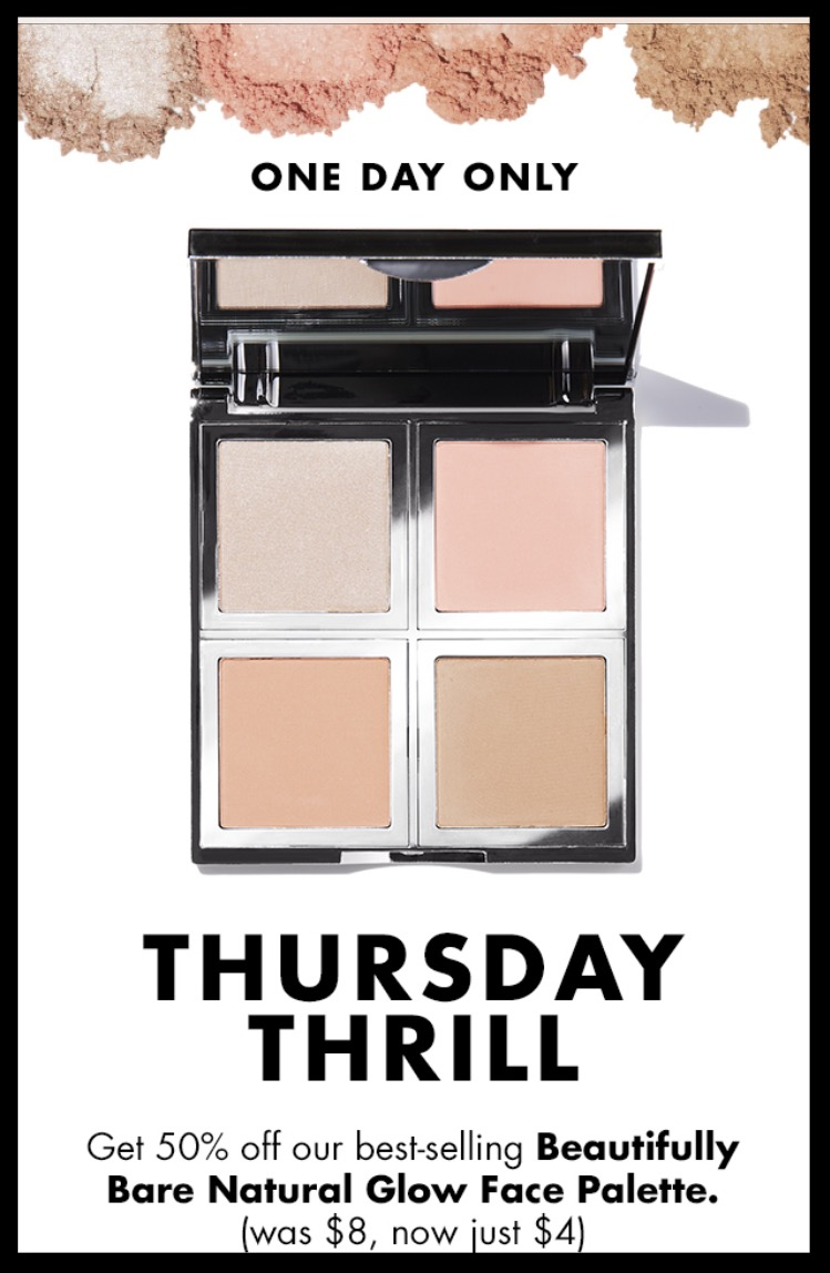 e.l.f. Cosmetics ~   Beautifully Bare Natural Glow Face Palette  ~ was: $8 now $4 (Ends 5/18) + Free 4-Piece Gift with $25 purchase with promo code: MYSTERY (Ends 5/22) + Free shipping with $25 order