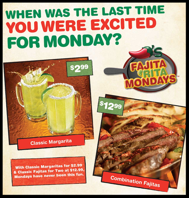 Chili's  ~ Fajita Rita Mondays (Participating locations)