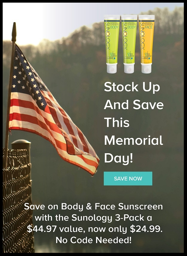 Sunology  ~ 3-Pack $24.99 ($44.97 value) + Free shipping with $25 order