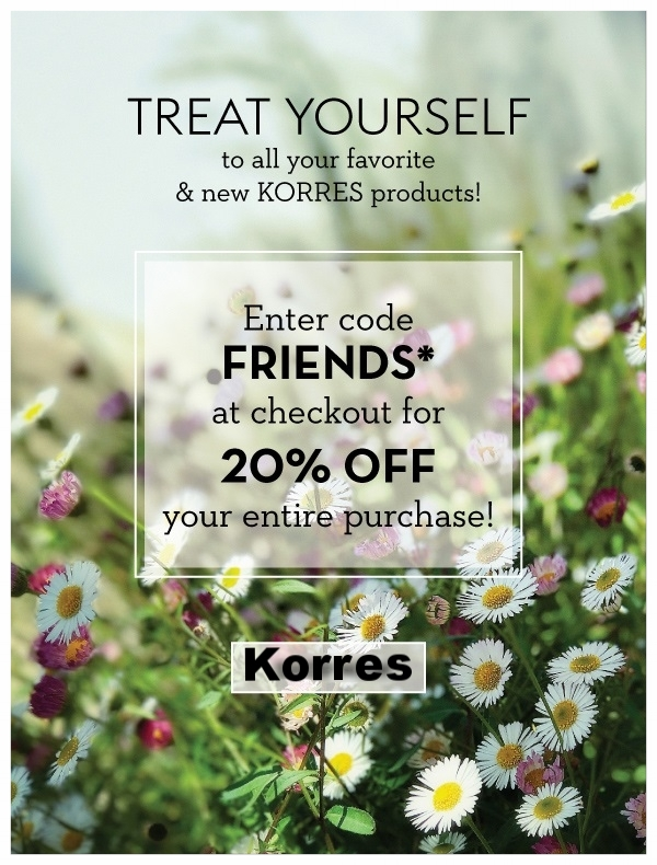 Korres  ~ 20% Off with promo code: FRIENDS (Ends 5/29) +FREE SHIPPING & SAMPLE ON $50+ ORDER