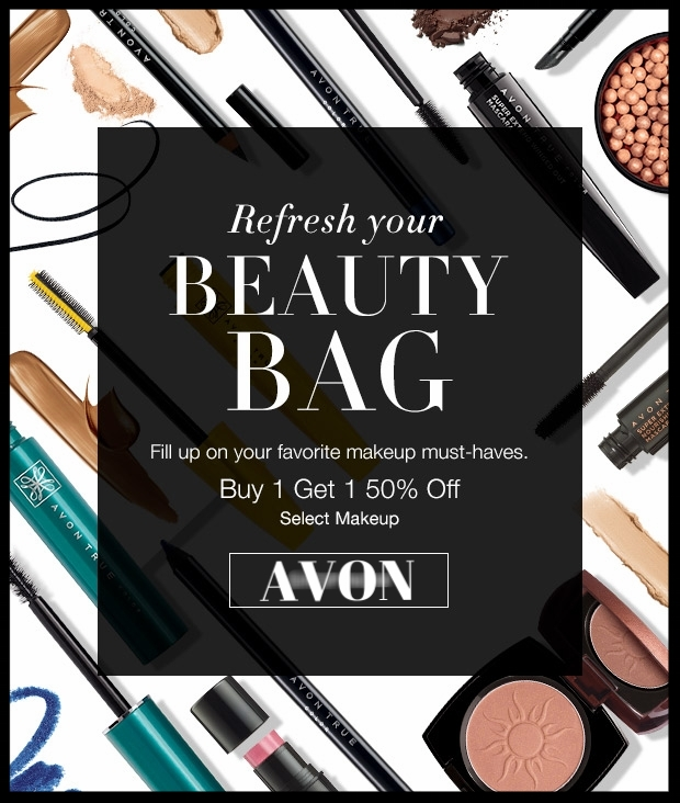 Avon  ~ Buy One, Get One 50% Off Select Makeup Must-Haves + 3-Piece Limited Edition Set Only $10 with any $40 Purchase +Free shipping with $40 order or Free ShopRunner with $25 order
