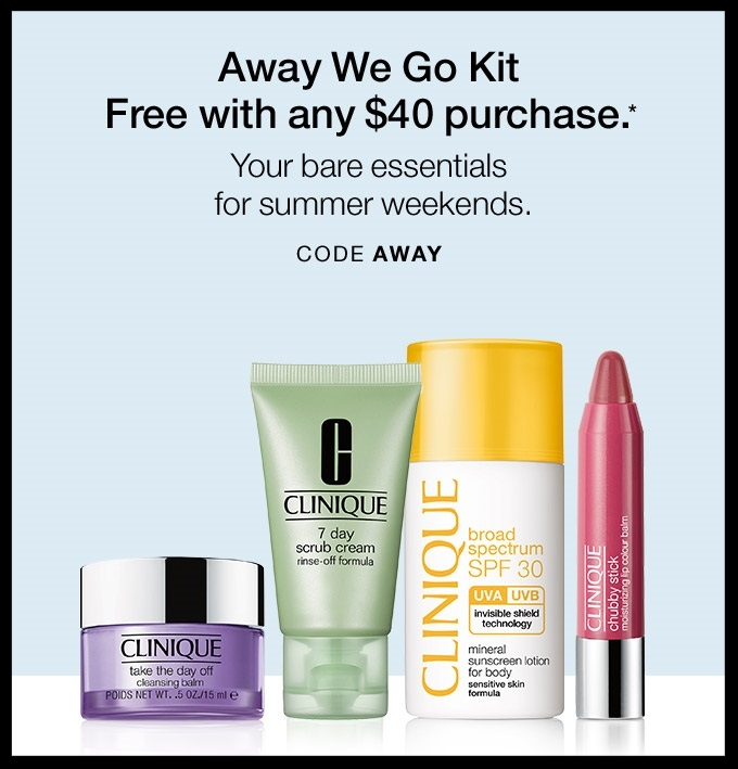 Clinique ~ Free 4-Piece Gift with $40 Purchase with promo code: AWAY (Ends 5/27)+ Free shipping with $50 order or Smart Rewards Members receive free shipping on any order.If you're not a Smart Rewards Member, it's free to  sign-up here !