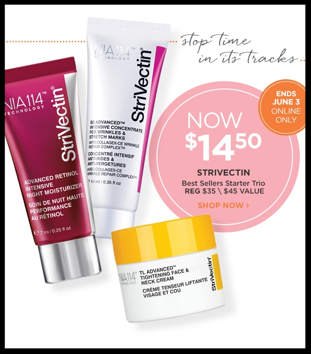 Ulta  ~ Hot Buy ~ StriVectin ~ Starters Trio ($45 value) Regular: $35 now: $14.50 (Ends 6/3) + FREE deluxe SD Advanced Intensive Concentrate with any StriVectin purchase + Free samples + Free shipping with $50 order