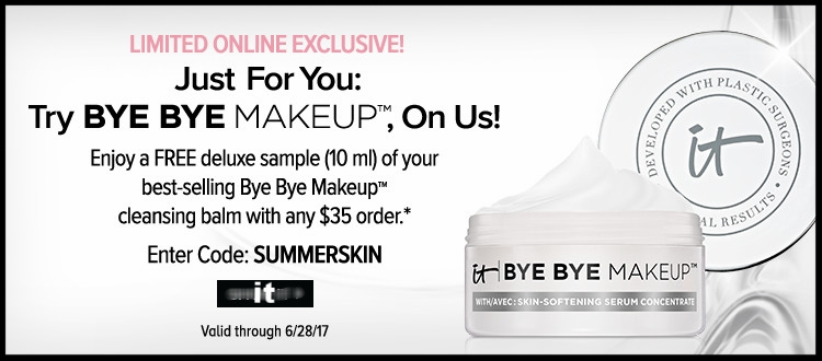 it cosmetics  ~ Free deluxe sample with $35 purchase with promo code: SUMMERSKIN (Ends 6/28) + Free samples + Free shipping with $25 order
