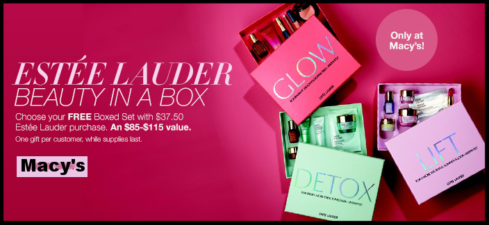 Macy's ~  Estée Lauder  ~ Choose Your FREE 6-Piece Beauty In A Box Gift With Any $37.50 Estée Lauder Purchase (Only at Macy's) + Free shipping and returns on any beauty order (I love that this GWP comes in a cute box! It's a nice change of pace from the typical makeup bag with these offers!)
