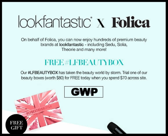 lookfantastic x Folica ~  Free beauty box  with $70 purchase + Free WORLDWIDE DELIVERY