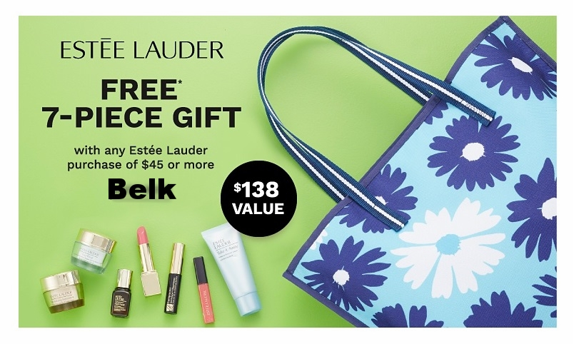 Belk ~  Estée Lauder  ~ Free 7-Piece Gift ($138 value) with $45 Estée Lauder purchase + Free shipping with any beauty order