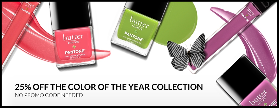 Butter London  ~ 25% or More Off on the Color of the Year Collection (18 Items ~ no promo code needed) + Free 4-Piece Gift ($46 value) with $50 purchase with promo code: JUNE17 + Free shipping