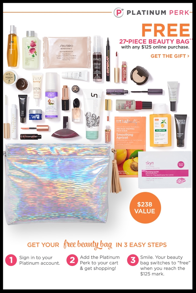 Ulta ~ Platinum Perk ~  Free 27-Piece Bag  with$125 Purchase + Free samples + Free shipping with $50 order