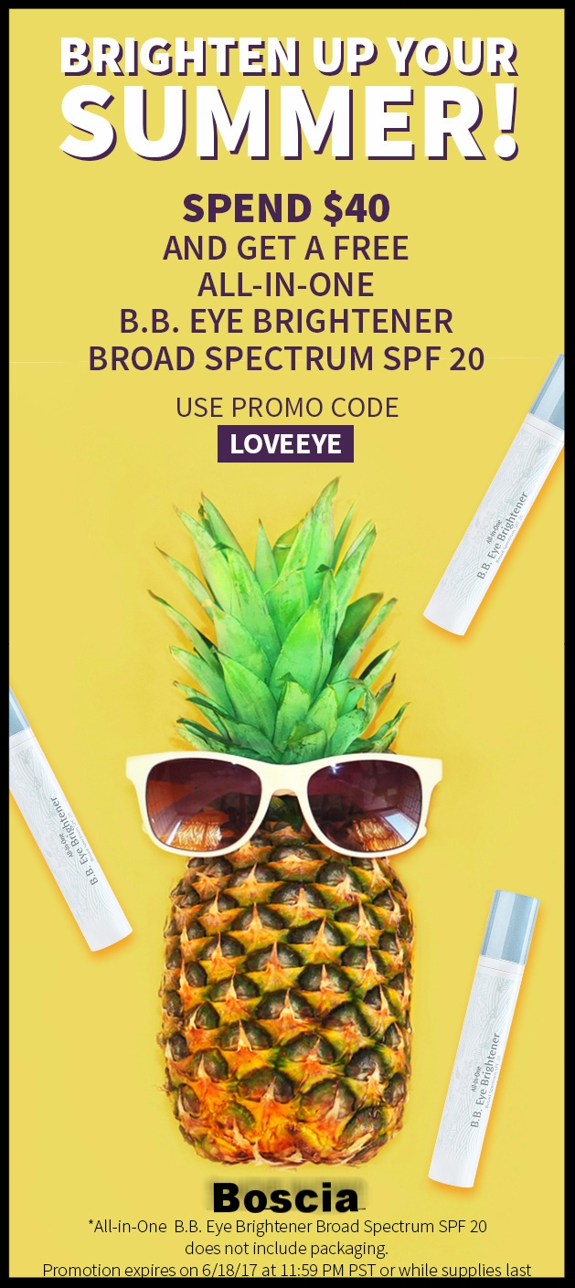 Boscia  ~ Free All-In-One B.B. Cream Spectrum SPF 20 (Ends 6/18 ~ Packaging not included) + 3 free samples with every order + Free shipping with $50 order