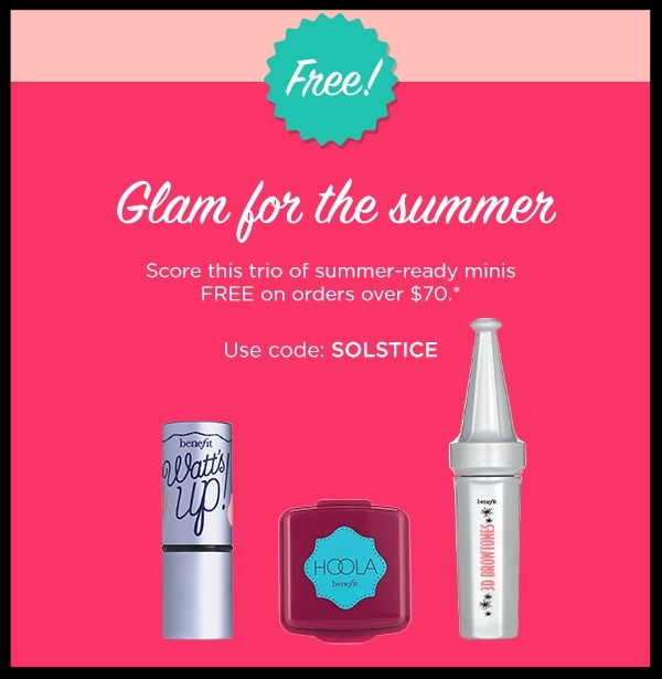 Benefit ~New  full-size brow duos $30 each ($46 - $52 value) + Get FREE deluxe samples of hoola, watt's up!, and 3D BROWtones in shade 02 - light/medium with $70 order with promo code: SOLSTICEEnds (7/6) + Free shipping with $50 order (I adore their brow line!)