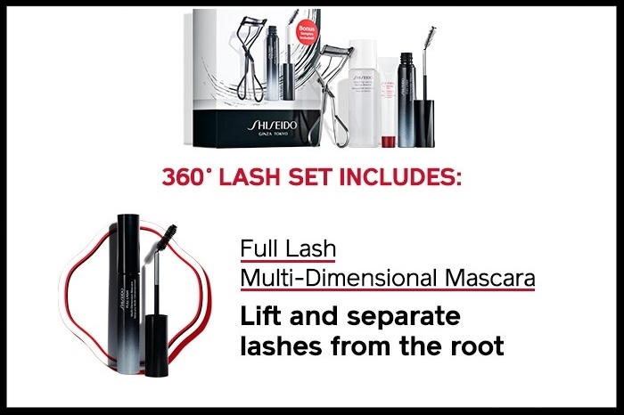 Shiseido ~  360°Lash Set  ~ $47 ($75 value) + Free samples + Free gift wrapping + Free shipping with $25 order