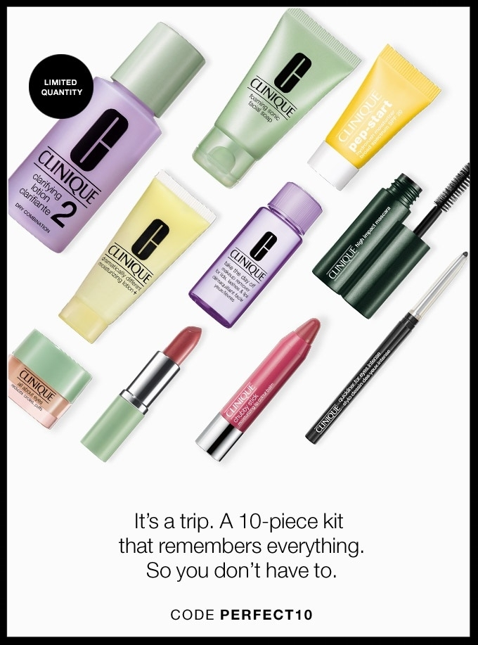 Clinique ~ One-Day Flash Sale ~ Free  10-Piece Gift  with $40 purchase with promo code: PERFECT10 + Free shipping with $40 order or free shipping on any order for  Smart Rewards Members  (It's free to join)