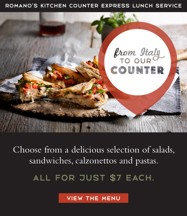 Romano's Macaroni Grill ~ Kichen Counter ~ Express Lunch Meals ~ $7 each ~ View the  menu  and find a  location !