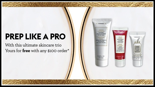 Korres  ~ Free 3-Piece Gift with $100 Purchase (Ends 6/23) + 1 free sample and free shipping with $50 order