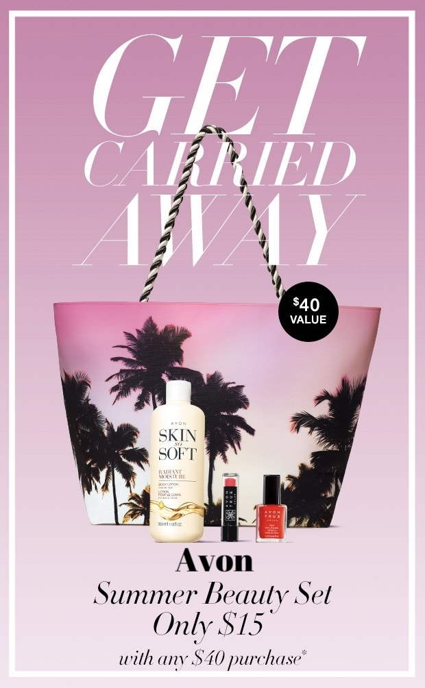 Avon ~  4-Piece Summer Beauty Set  for $15 with any $40 purchase + Free shipping with $40 order or free ShopRunner with $25 order
