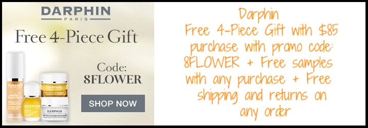 Darphin  ~ Free 4-Piece Gift with $85 purchase with promo code: 8FLOWER (Ends 6/27 at 11:59 PM PST) + 3 free samples with any purchase + Free shipping and returns on any order