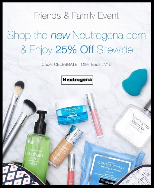 Neutrogena  ~  FRIENDS & FAMILY ~  25% OFF SITE-WIDE (ENDS 7/15) WITH PROMO CODE: CELEBRATE + Free shipping with $25 order