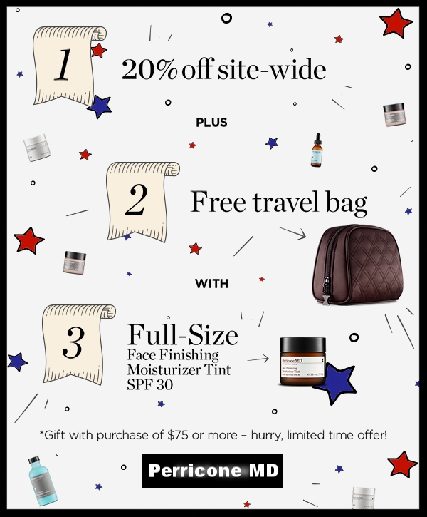 Perricone MD  ~20% Off with promo code:HAPPY4TH + Free Full-Size Face Finishing Moisturizer Tint and Travel Bag with $75 Purchase +Free shipping with $50 order