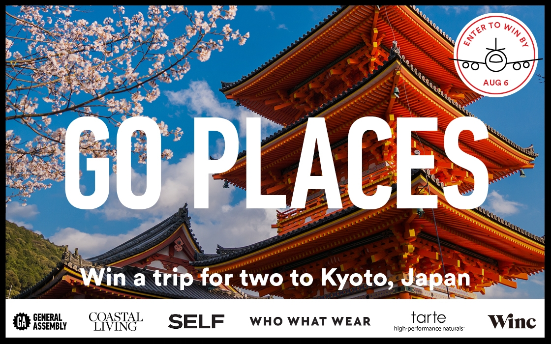 Timeless traditions, refined culture. Experience one of Japan's most classically beautiful cities. You and a travel buddy could be Kyoto-bound to explore its ancient landmarks and learn to eat — and cook — like a local. Enter by Sunday, August 6 to win:  Here   A $1,000 travel credit to get to Kyoto, Japan.  Five nights' accommodation at the Mitsui Garden Hotel.  Hands-on sushi and bento-style cooking classes with an expert chef.  A tranquil visit to the Arashiyama Bamboo Forest.  A day to explore Fushimi Inari Shrine, lined with thousands of iconic torii gates.  A GA swag pack.