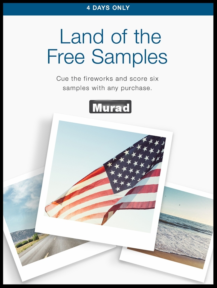 Murad  ~ Double the Samples ~ 6 in every order + Free 5-Piece Gift with $85 purchase with promo code: MURADGIFT + Free shipping with $50 order