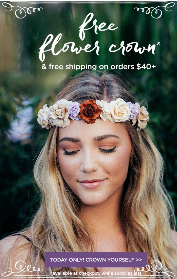 Tarte  ~ (Today only) ~ Free flower crown with $40 purchase + 1 free sample + Free shipping with $40 order