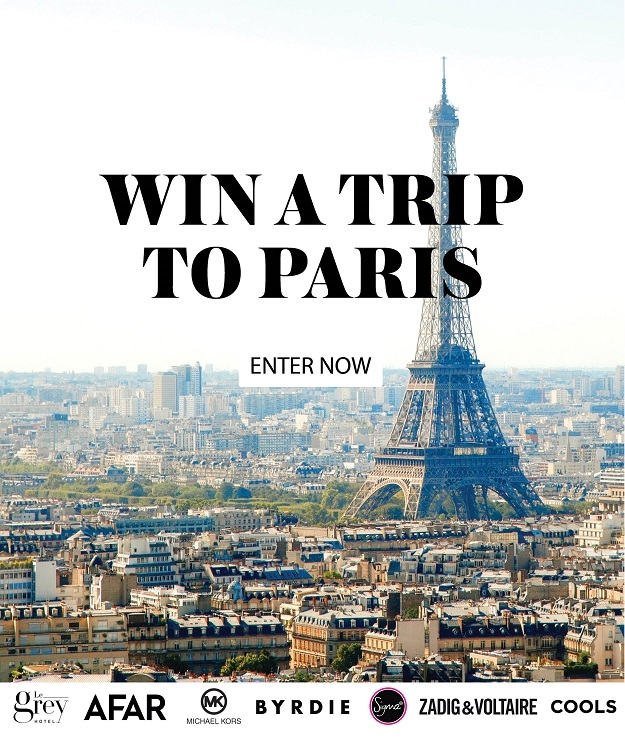 Enter for a chance  to win a trip to Paris! (Must be (18) years of age within the continental United States and have a valid email address. Ends 08/01/2017 at 12:01 am EST.)  $900 in airfare from COOLS and AFAR  1-year subscription from AFAR Magazine  a 2-night stay at Le Grey Hotel  $400 gift card from Sigma Beauty  $1000 from Michael Kors  $2000 gift card from Zadig & Voltaire