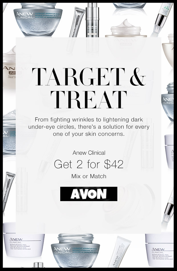Avon ~  Anew Clinical  - Any 2 for $42 ($25 - $40 each) +   4-Piece Limited Edition Tote Set  Only $15 with any $40 Purchase  ~ It includes ~       Skin So Soft Radiant Moisture Body Lotion : 11.8 fl. oz. ($8 value)  • Avon True Color Lip Balm in Peach Pout : 0.12 oz. net wt. ($4 value)  • Avon True Color Pro+ Nail Enamel in Coral Beat : 0.4 fl. oz. ($8 value)  + Free shipping with $40 order or free ShopRunner shipping with any order
