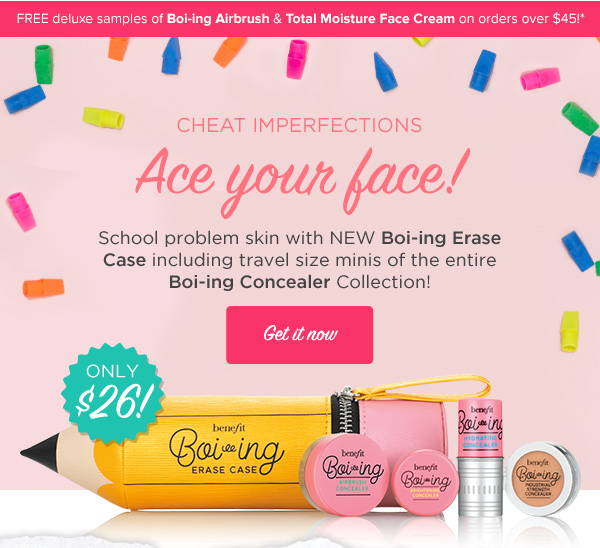 Benefit Cosmetics ~  erase case concealer kit  boi-ing  concealer kit  ~ $26 + FREE deluxe samples of Boi-ing Airbrush Concealer and Total Moisture Facial Cream with $45 order with promo code: FLAWLESS01 or FLAWLESS02 at checkout (Offer valid through July 31st, 2017 at 11:59 PM Pacific) + 2 free samples + Free shipping with $50
