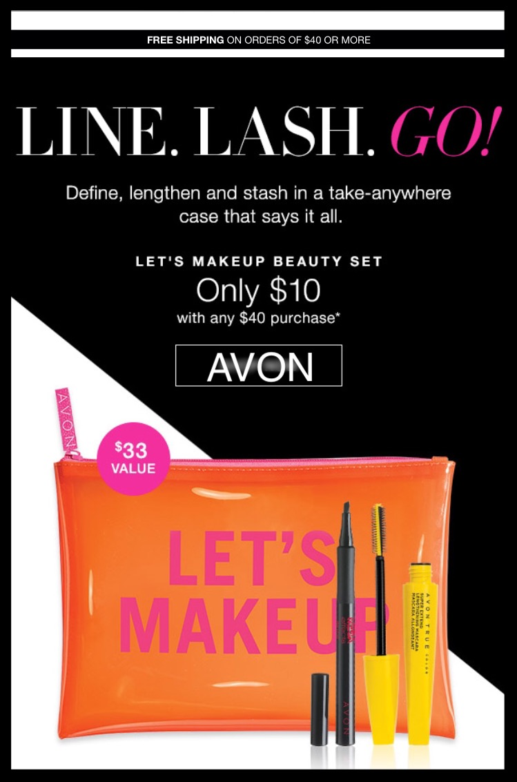 Avon ~  3-Piece Let's Makeup Beauty Set  ($33 value) ~ Only $10 with any $40 Purchase + Free shipping with $40 order or free ShopRunner Shipping with $25 order