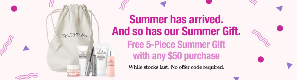 Prescriptives  ~ Free 5-Piece Gift with $50 purchase (No promo code needed ~ ends at 2:59am EST on 07/28) + 2 free deluxe samples with $25 purchase (No promo code needed) + Free shipping and returns with any order