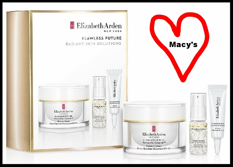 Macy's ~ Elizabeth Arden ~  3-Piece Flawless Future Powered By Ceramide Set  ~ was: $63 now: $39 + Free shipping and returns on any beauty order (The Flawless Future Powered by Ceramide Moisture Cream Broad Spectrum Sunscreen SPF 30 (1.7 oz) retails for $50 alone!)