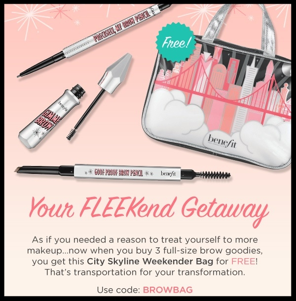 Benefit Cosmetics  ~ Free City Skyline Weekender Bag when you purchase 3 full-size brow goodies with promo code: BROWBAG (Ends July 31st, 2017 at 11:59 PM Pacific or while supplies last.)+ 2 free samples with any order + Free shipping with $50 order