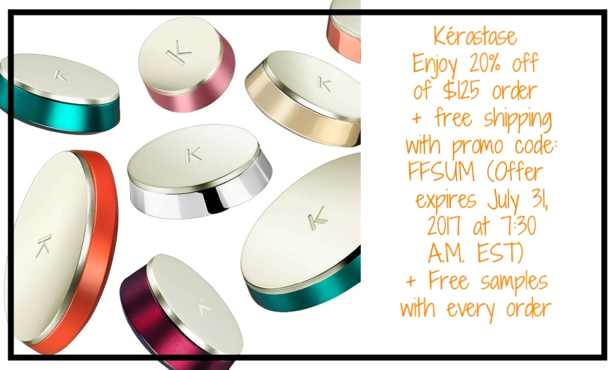 Kérastase ~ Enjoy 20% off purchases of $125 or more, plus complimentary shipping with promo code: FFSUM (Offer expires July 31, 2017 at 7:30 A.M. EST) + Free samples with every order