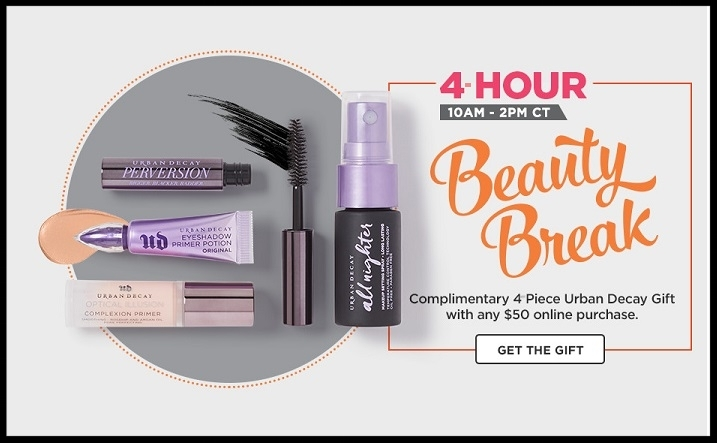 Ulta ~Beauty Break! Complimentary  4-Piece Urban Decay Gift  with any $50 purchase (Just add to cart) + Free  Missy Lynn Beauty Bag with any $75 Purchase with promo code: MISSYLYNN ($114 Value - just add to cart ~ It's back in stock) + FREE 12-Piece Ulta Gift with any $19.50 ULTA Beauty Collection Makeup, Brushes, Beauty Tools, or Skincare purchase (Ends 8/26) + Free samples + Check your Ultamate Rewards for 5X Points on Bliss purchases (Ends 8/12/17)+ Free shipping with $50 order