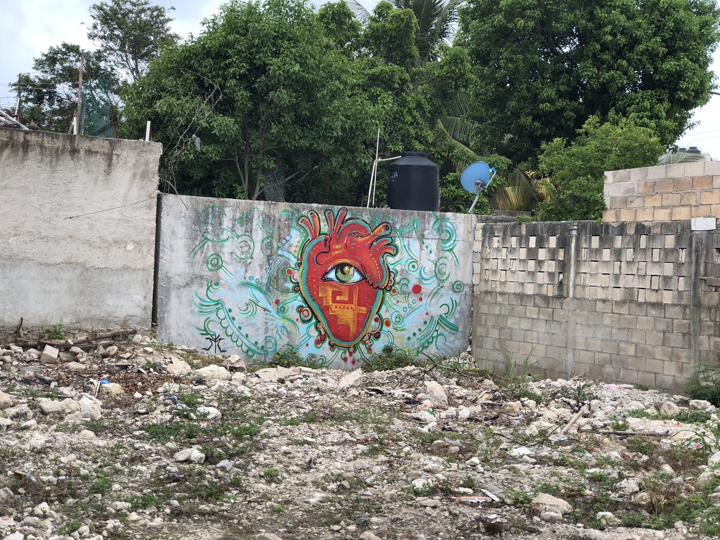 mexican artwork is all over the walls in tulum