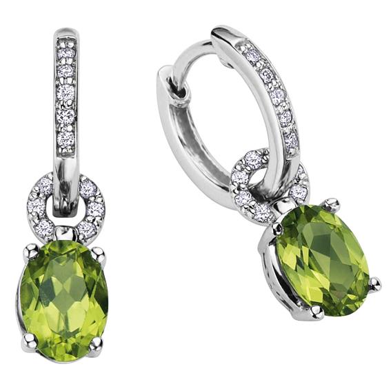 Peridot and diamonds earrings
