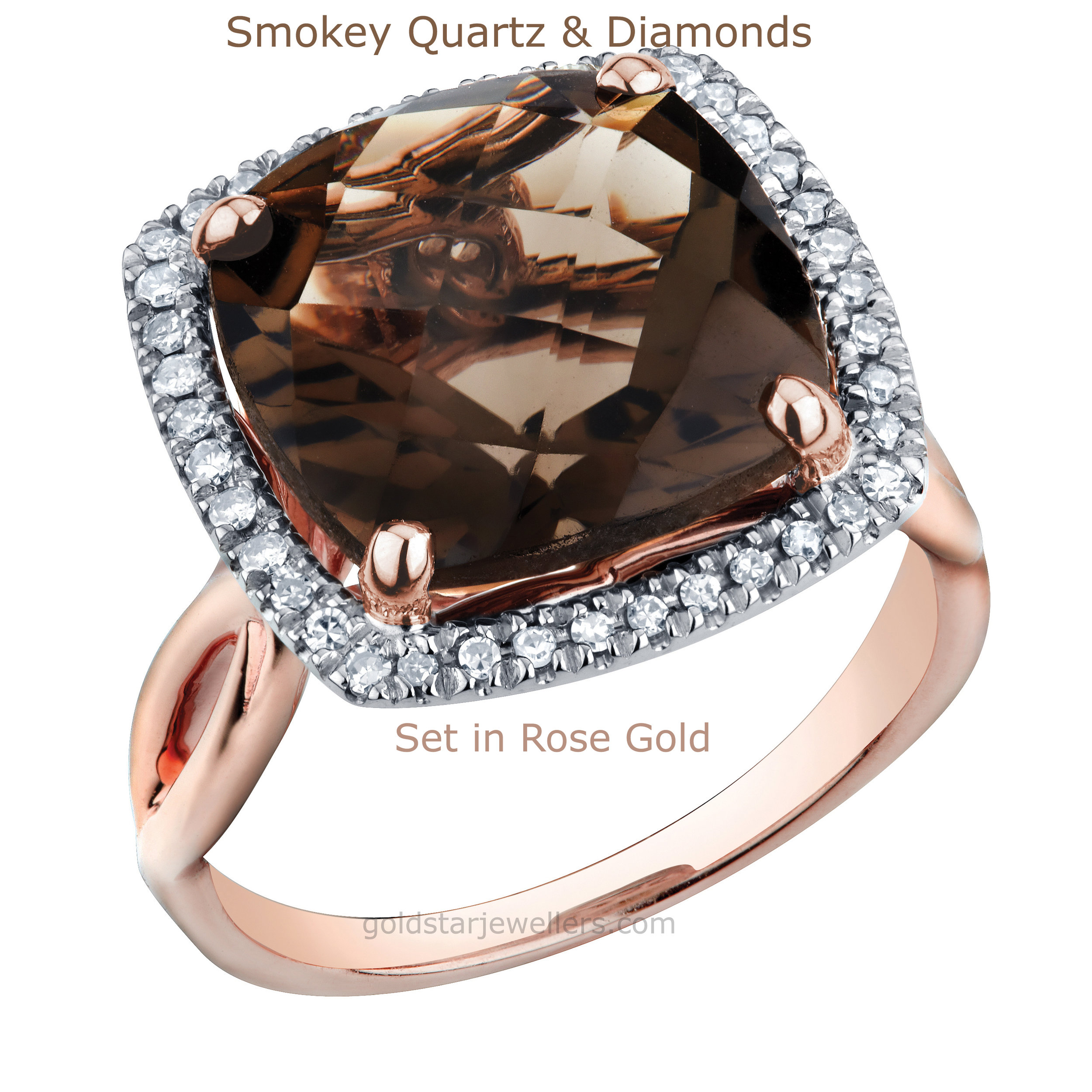 smokey quartz and diamonds