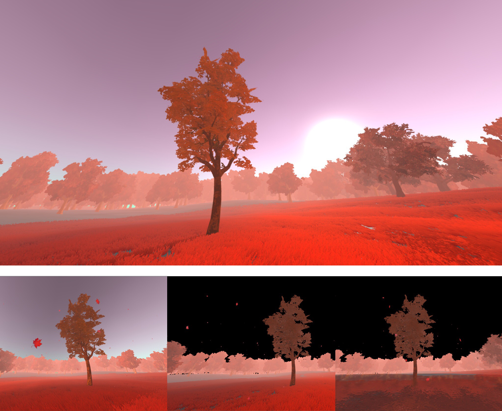 A guided mediation asks users to open themselves to the idea of their nonexistence using the analogy of a tree cycling through seasons. The imagery consists of an open field with a single tree in the foreground and takes on the style of a color film negative. In other words, a world that is both familiar and dissimilar to their own. The world cycles from night, into day, and then back into night. As the meditation brings the user back to their awareness, the world transitions to part two. -