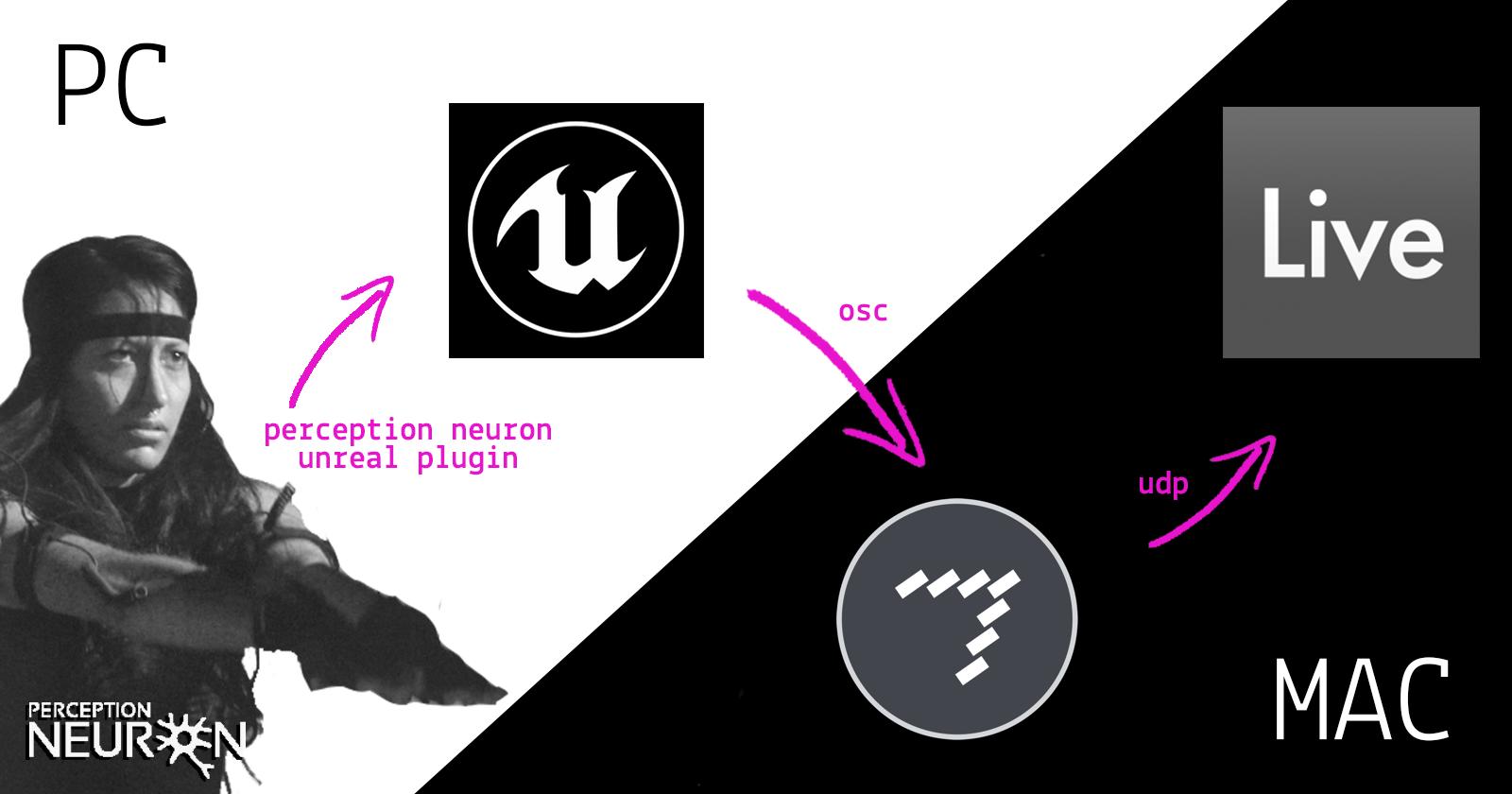 Process Flow - Perception neuron - Unreal - MaxMSP - AbletonLive