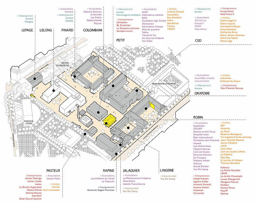 Plan d'aménagement du projet Les Grands Voisins situé dans l'ancien hôpital Saint-Vincent de Paul à Paris