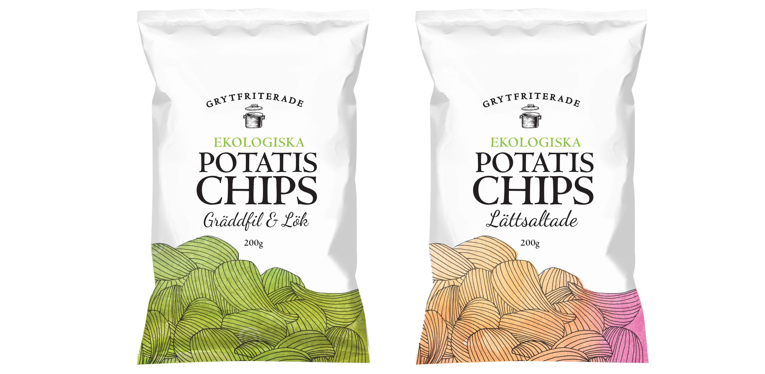 Illustration and design sketches for potato chip bags