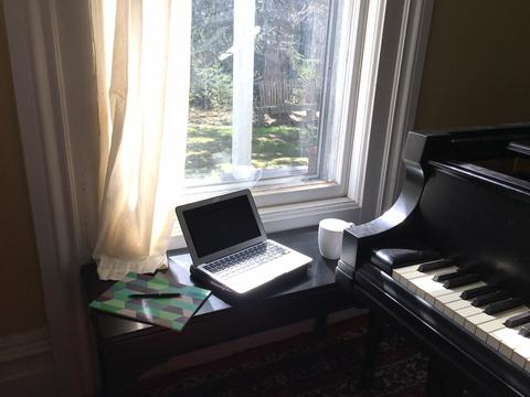 My sunny writing and coffee spot most mornings here at Arts Letters & Numbers