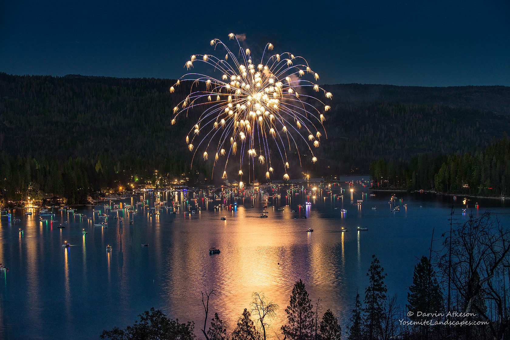 Bass Lake Fireworks by Darvin Atkeson